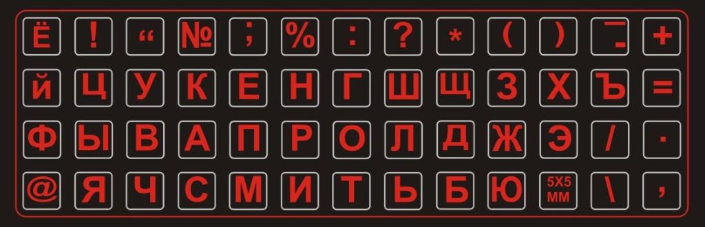 Наклейки на клавиатуру черный фон для