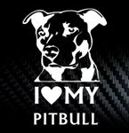 Наклейка на автомобиль I love my pitbull