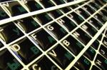 Силиконовые наклейки  на клавиатуру чёрный фон тёмно зелён/бел б