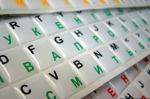 Силиконовые наклейки  на клавиатуру белый фон чёрные/тёмно зелён
