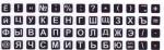 Мини наклейки на клавиатуру белые буквы на чёрном фоне