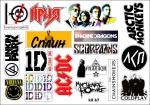 Лист с наклейками музыкальные группы