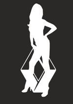 Наклейка на автомобиль Логотип renault и девушка.