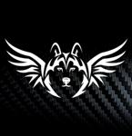 Наклейка на автомобиль Хаски и крылья