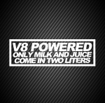 V8 powered only milk and juice come in two liters
