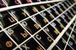 Силиконовые наклейки  на клавиатуру чёрный фон оранжевые/белые б