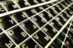 Силиконовые наклейки  на клавиатуру чёрный фон белые/бел б