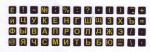 Мини наклейки на клавиатуру жёлтые буквы на чёрном фоне
