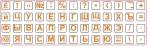 Мини наклейки на клавиатуру оранжевые буквы на белом фоне
