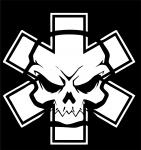 Наклейка на машину Череп с крестом